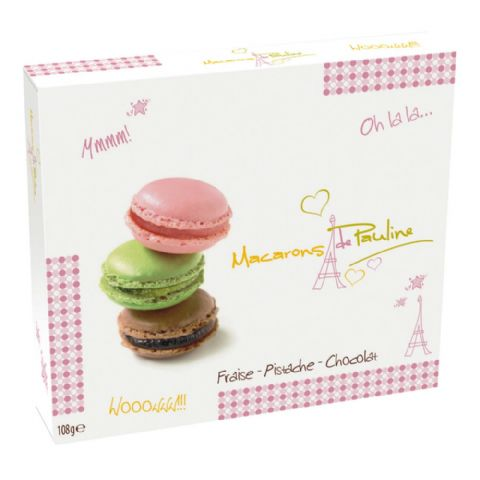 Pistachio Strawberry Chocolate Macarons de Pauline Gift Box d'Haubry 108g (Pack of 9)